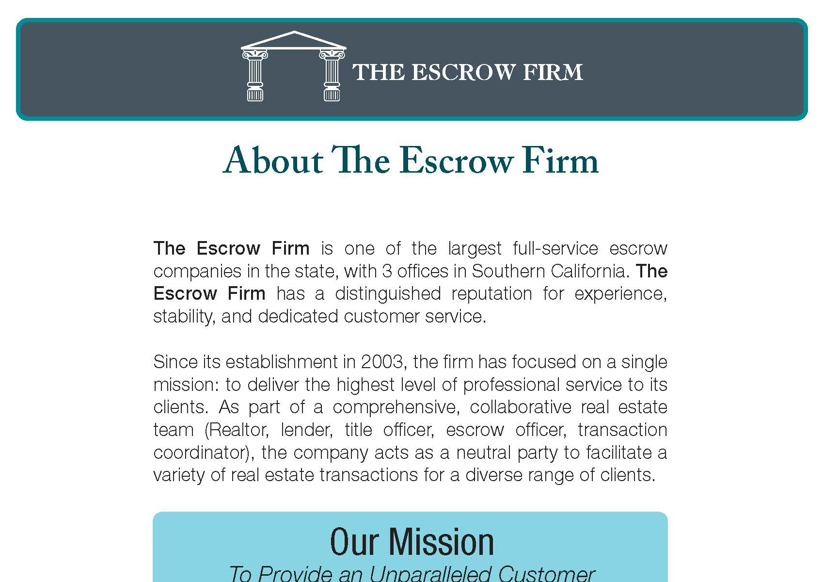 About The Escrow Firm