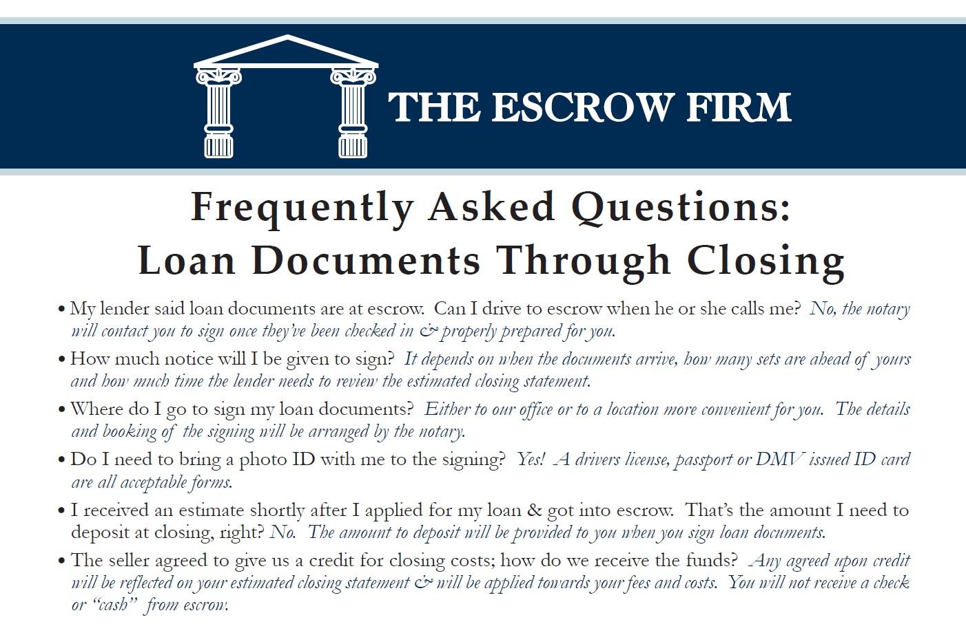 FAQ-Loan Docs to Close