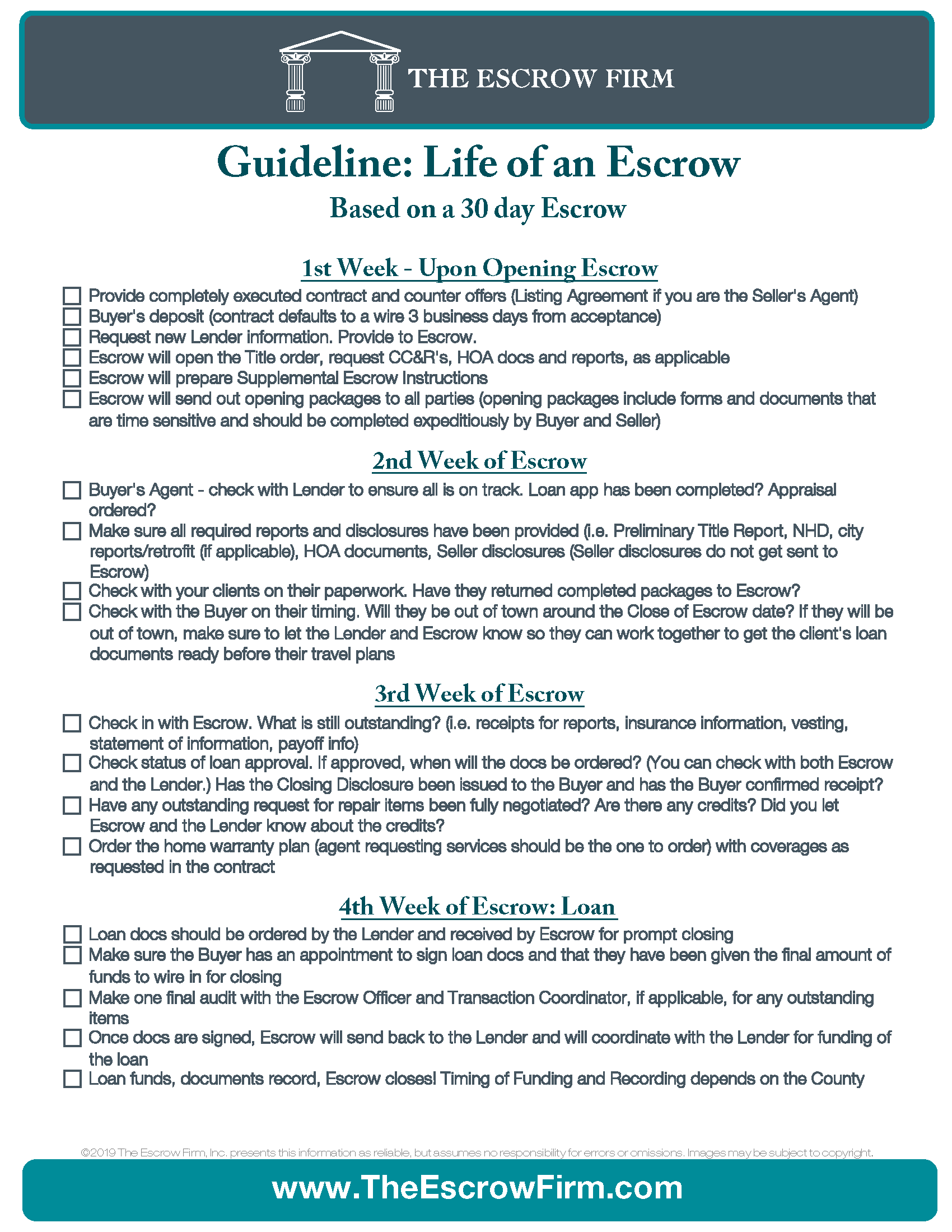 Guideline-Life of an Escrow